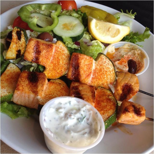 Zoe Kitchen: Salmon Kebobs At Zoe's Kitchen