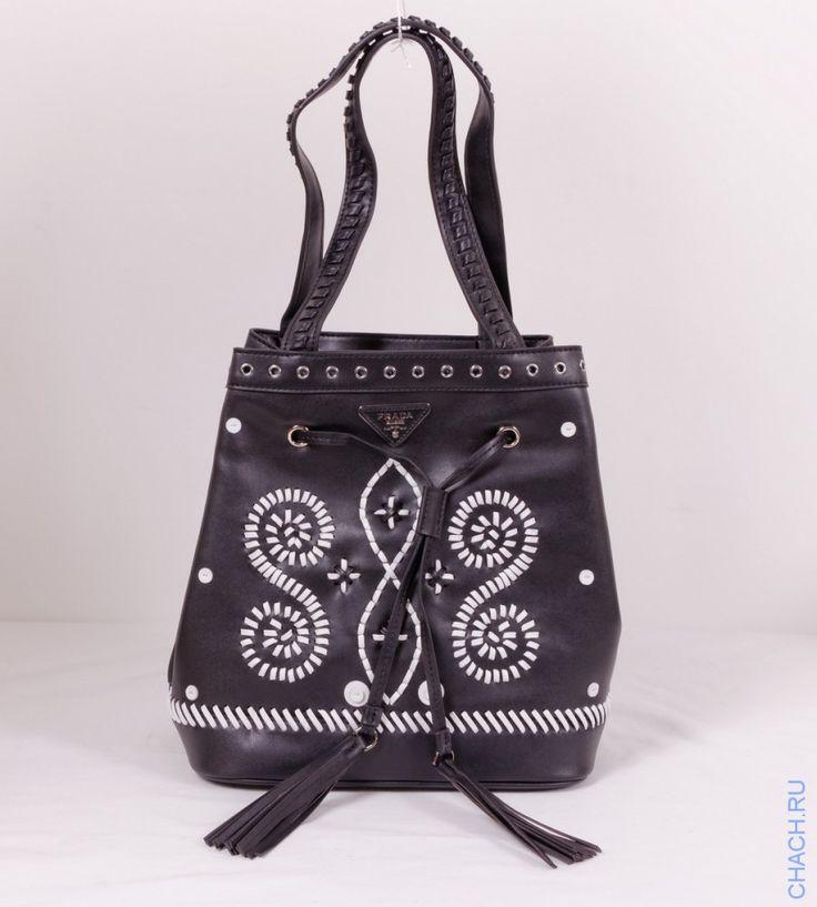 Сумка Prada Bucket Bag черная с прошитым белым узором