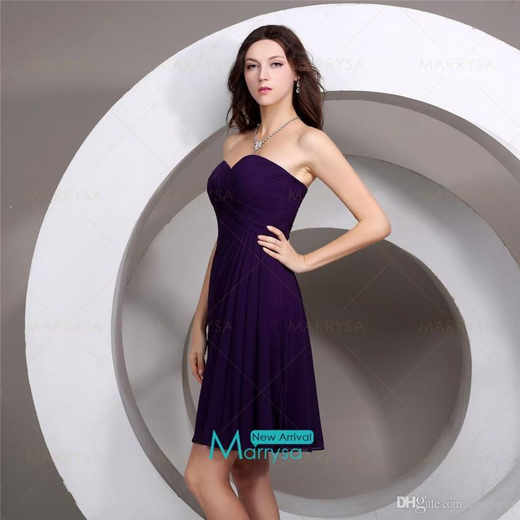 Cheap bridesmaid dresses sweetheart neck grape knee length for Cheap formal dresses for wedding guests
