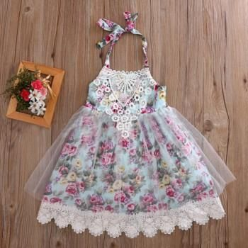 Sweet Flower Pattern Lace Sleeveless Dress for Girls