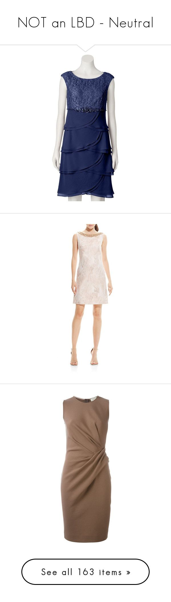 """""""NOT an LBD - Neutral"""" by rebeccalange ❤ liked on Polyvore featuring dresses, blue, formal cocktail dresses, blue dress, lace dress, tulip skirts, formal dresses, rose gold, boat neck shift dress and embellished cocktail dress"""