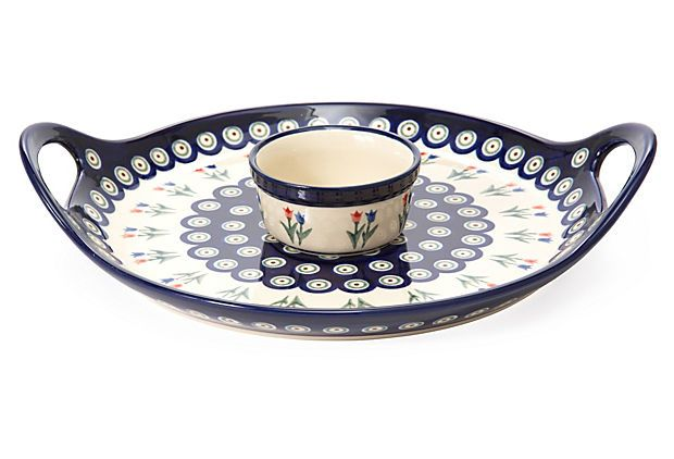 Round Tray w/ Dip Bowl, Tulips on OneKingsLane.com