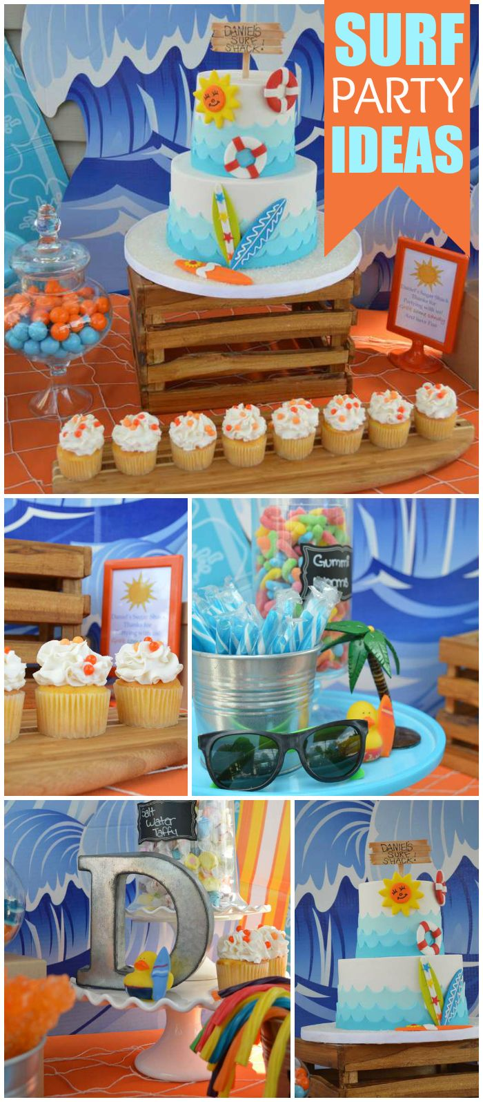 What an awesome pool party with a beach surf theme! See more party ideas at CatchMyParty.com!