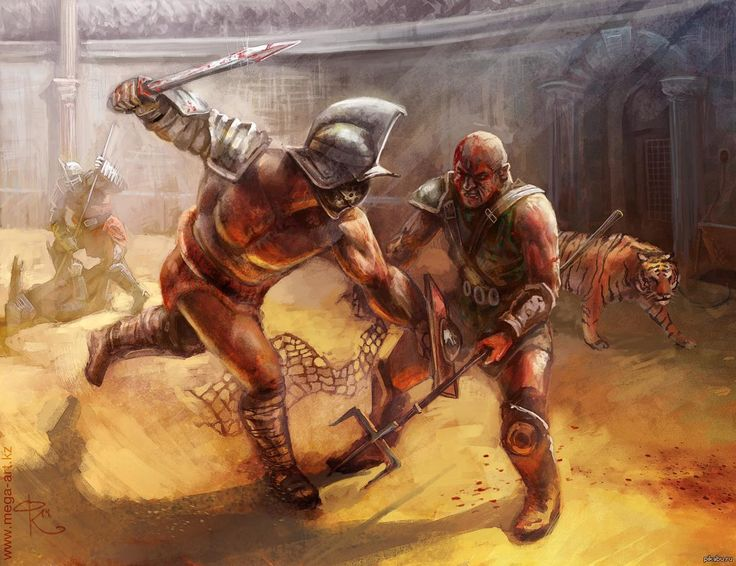 Gladiators dueling in an arena | Gladiators War Art ...