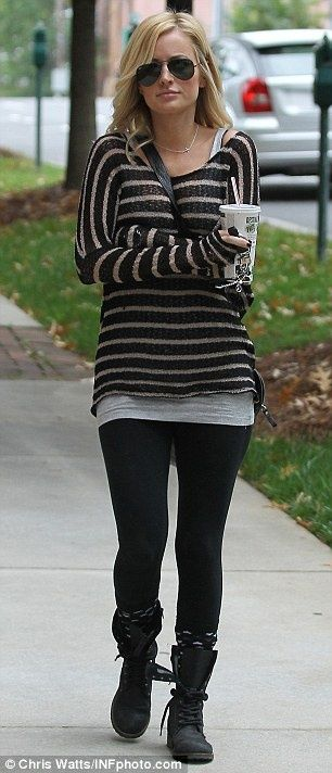 Grey cami, Black w/skinny white stripe sweater, Black leggings, Black combat boots, Black/Grey boots socks, Black messenger bag...comfy & cute :)