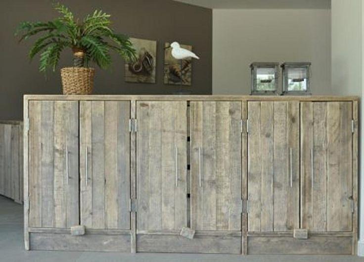 Dressior kast 210cm breed van gebruikt steigerhout (22131458)   Boekenkasten van steigerhout