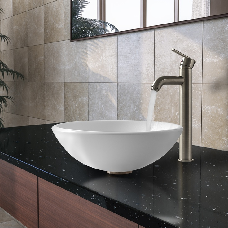 Check Out VIGOu0027s New Round Phoenix Stone Glass Vessel Bowl U0026 Brushed Nickel  Vessel Faucet