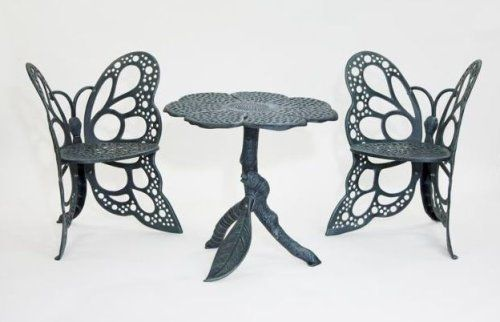 Flower House FHBFBSET-A Butterfly Bistro Set, Antique by Flower House. $709.00. A great gift item to be enjoyed for generations. Heirloom Quality Cast Aluminum with Durable Powder Coated Finish. Unique one of a kind design. Patented. Beautiful addition to your home , garden or pool area.. This Beautiful Butterfly Furniture set will add a functional,elegant,focal point in your home or garden .Classic wrought iron design in lighter rust-free cast aluminum .Durable ,all weather ...