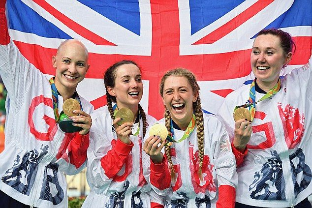 Great Britain cyclists Joanna Rowsell-Shand, Elinor Barker, Laura Trott and Katie Archibald celebrate Olympic gold at Rio 2016