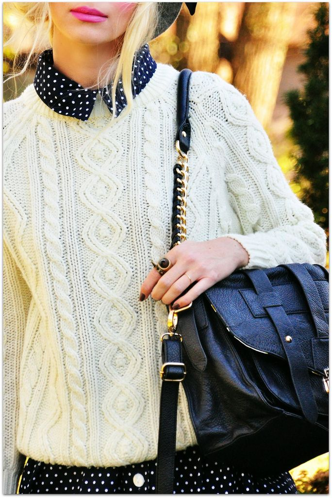 Fall/winter outfit idea. Layer a patterned collared shirt under a sweater