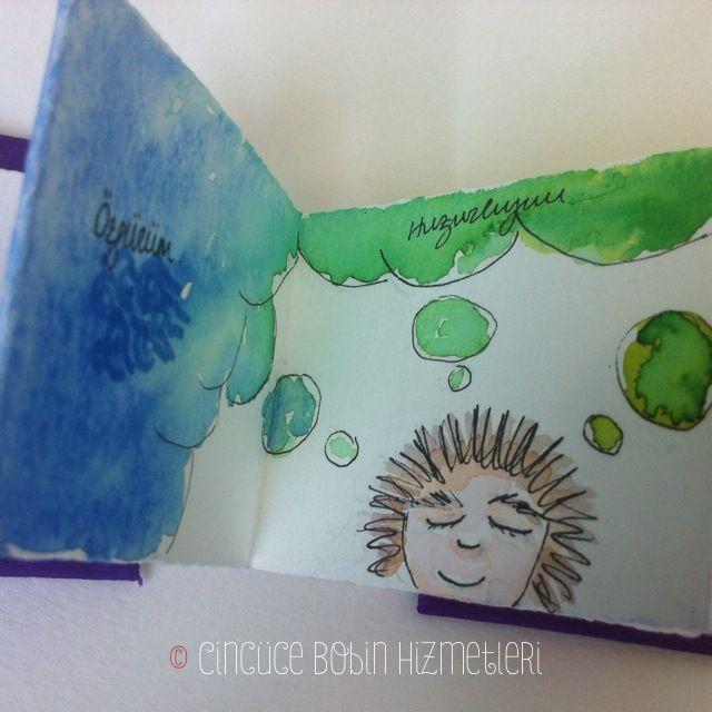 """""""Renklerin Dansı"""" Cincüce'nin minyatür kitapları / akordeon kitap Dance of the Colors: Handmade miniature acordeon book."""