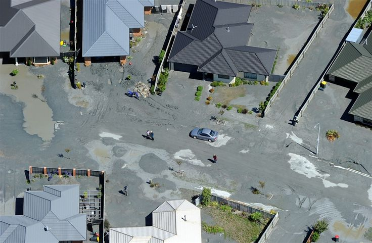 Aerial photographs show damage caused by liquefaction after the Christchurch earthquake
