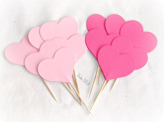 12 Mixed Pink  double-sided Heart 2 Cupcake Toppers by StudioIdea