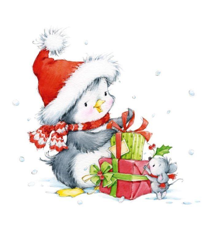 Животные на новый год картинки нарисованные