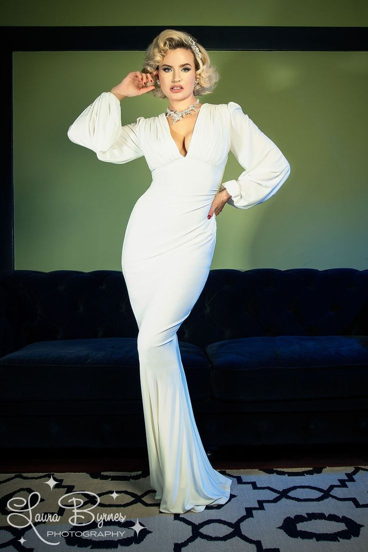 Laura Byrnes California Gia Gown in White | Pinup Girl Clothing