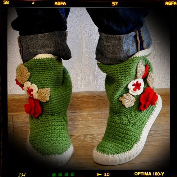 Crochet Boots Crochet Knitted Shoes Outdoor Boots  by ukicrafts, €45.00