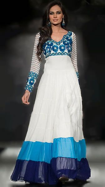 blue and white indian suit