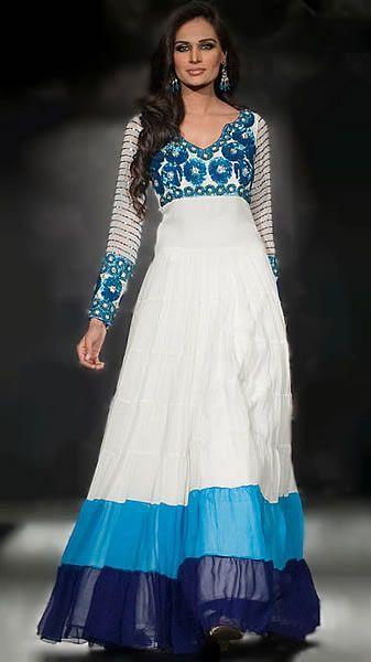 Offwhite Panera Anarkali Suit #indian #fashion