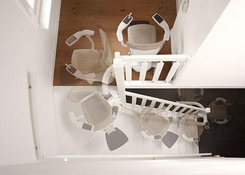 Le système intelligent ASL ThyssenKrupp Encasa, permet une rotation du monte-escalier durant la course, pour maximiser votre confort, même dans les escaliers les plus étroits !
