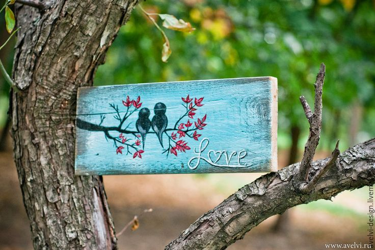 Купить Романтичные Птички - темно-бирюзовый, птички, птички на ветке, интерьер, доска декоративная