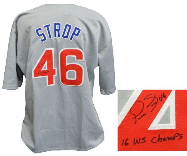Pedro Strop Signed Grey Custom Baseball Jersey w/16 WS Champs