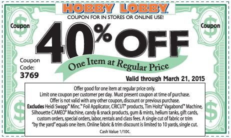 Pinned March 19th: 40% off a single item at Hobby #Lobby or online via promo code 3769 #coupon via The #Coupons App