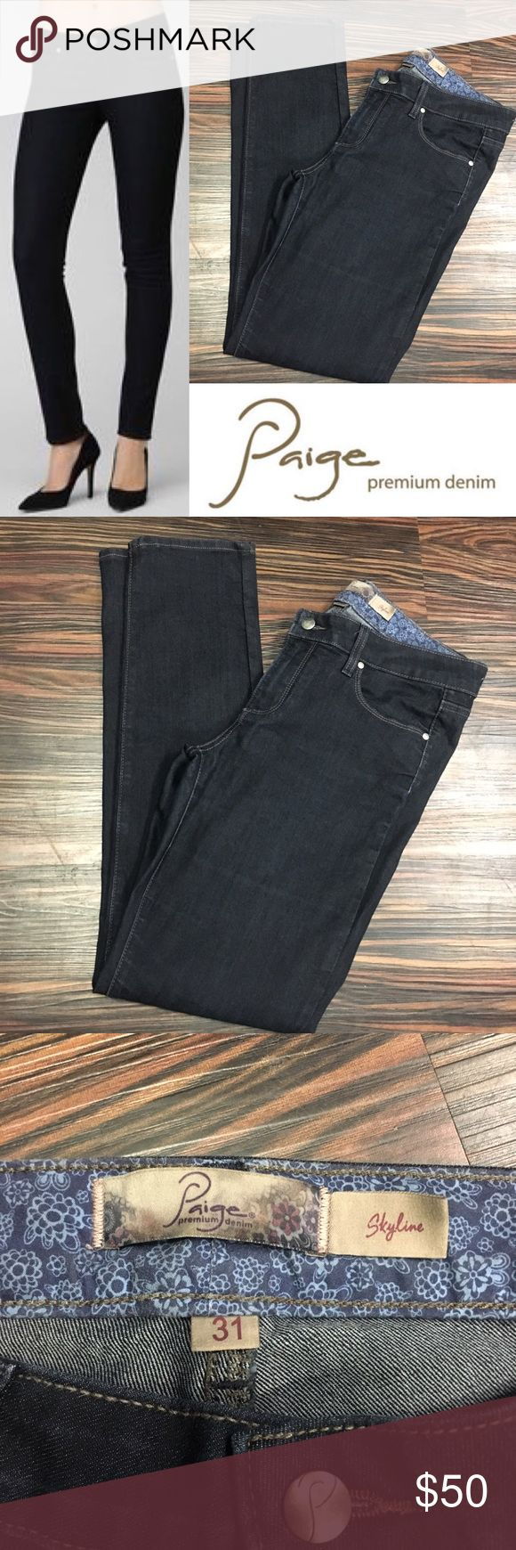 PAIGE Premium denim Skyline skinny in twilight Five pocket styling, with zip fly and branded button closure.  With 80% cotton 19% polyester and 1% spandex, these jeans are soft to the touch. PAIGE Jeans Skinny