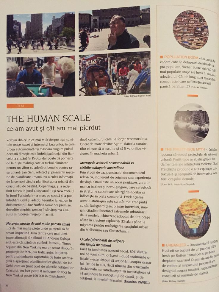 The Human Scale by Jan Gehl in Igloo, May issue (Ro) #film #documentary
