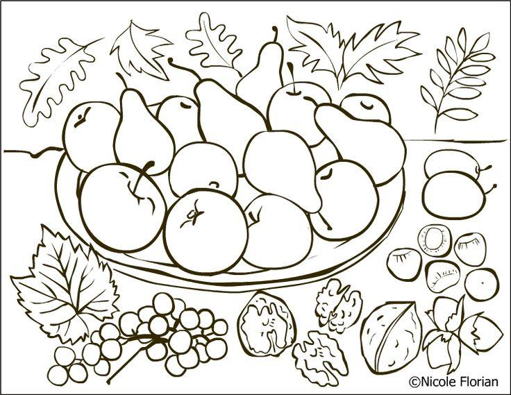 Free Coloring Pages: Autumn fruits * Coloring page * Desene de colorat cu toamna