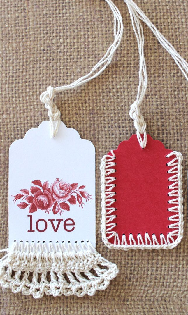 love gift tags crochet