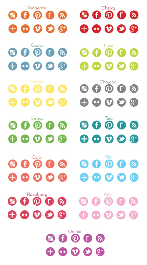 Colorful Round Social Media Icons Social media icons
