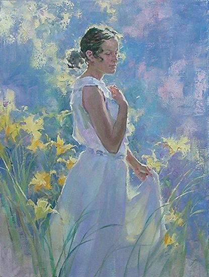 Garden Girl by John Michael Carter Oil ~ 30 x 24