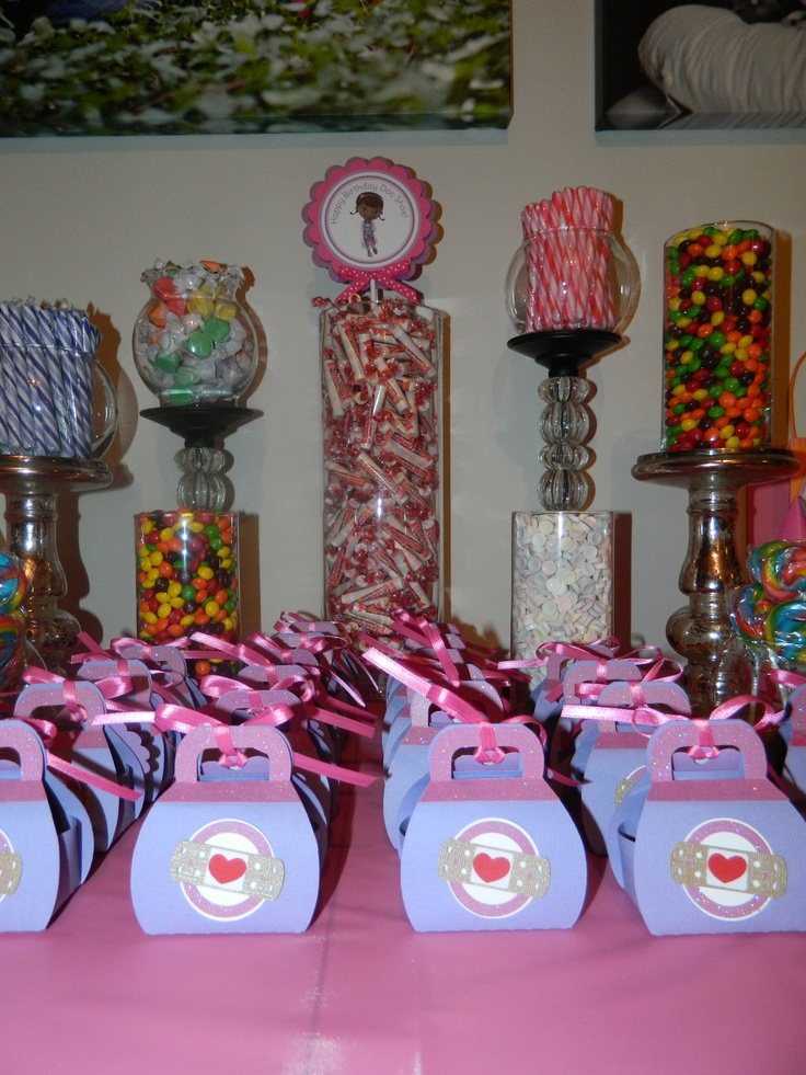Candy bar favor table doc mcstuffins birthday party