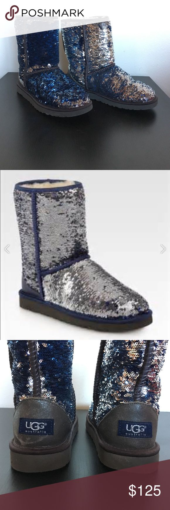 Sequined original UGG boots Like new worn only a couple of times authentic Uggs boots. Sequins flip so one way they look silver & the other they look blue UGG Shoes Winter & Rain Boots