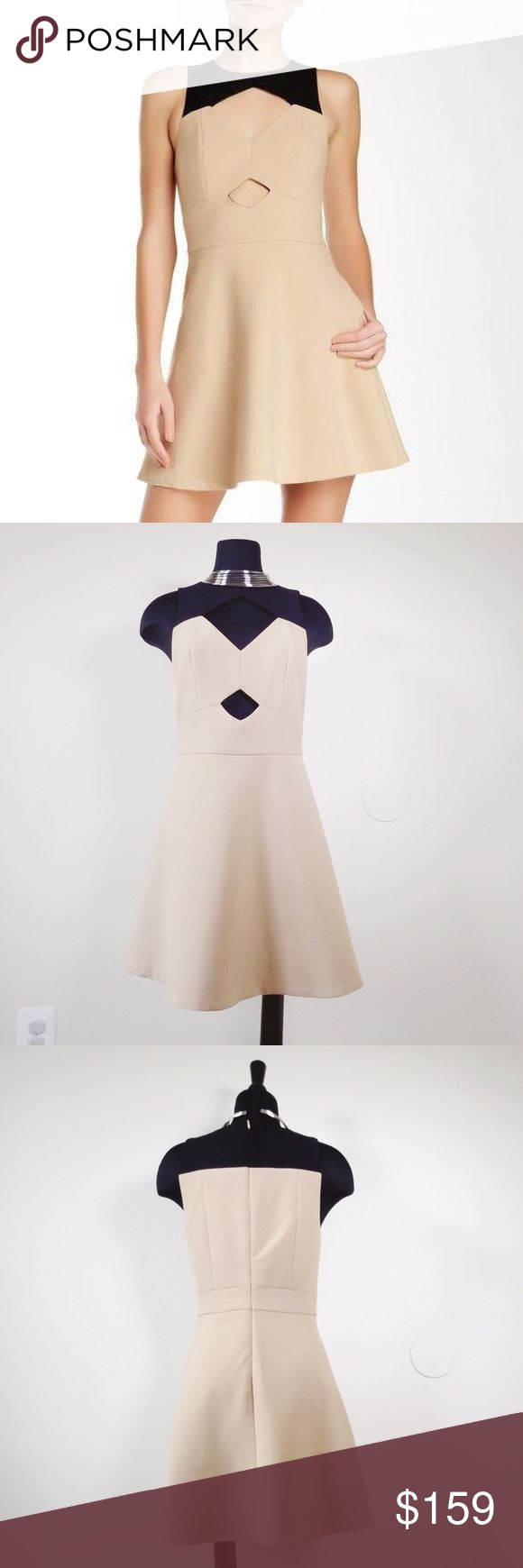 Rachel Zoe Page camel cut out fit n flare dress 6 Brand new with tags!! Excellent condition. Rachel Zoe page cutout natural fit n flare dress  Sleeveless fit and flare dress with front cutouts. Perfect dress for day to night, weddings, parties, and holiday events. Pair with simple heels and minimal jewelry. Beige option has black color block at neckline. FULLY LINED.  Fiber Content: 64% polyester, 27% viscose, 6% cotton, 3% elastane Rachel Zoe Dresses Mini