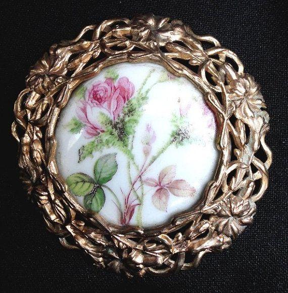 Prachtige antieke Art Nouveau Frans Shabby rozen Frankrijk Limoges miniatuur portret