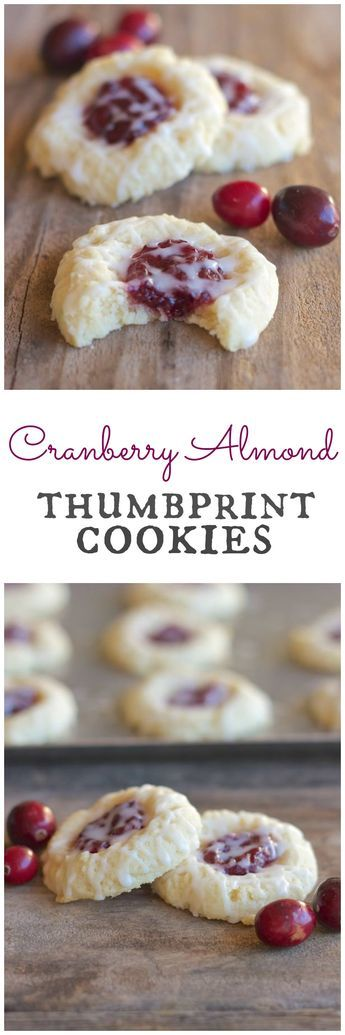 Cranberry Thumbprint Cookies With Almond Glaze - great way to use up leftover cranberry sauce!