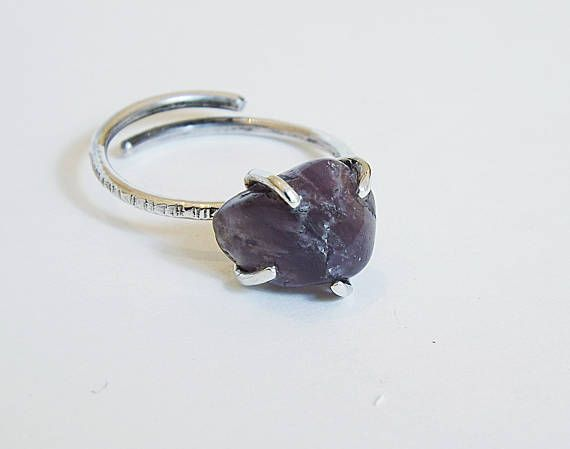 Raw Amethyst sterling silver ring, hammered, rough amethyst, δαχτυλίδι ακατεργαστος αμέθυστος