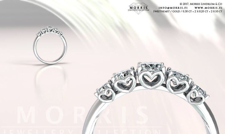 White Solid Gold Diamond Ring Heart Details Engagement