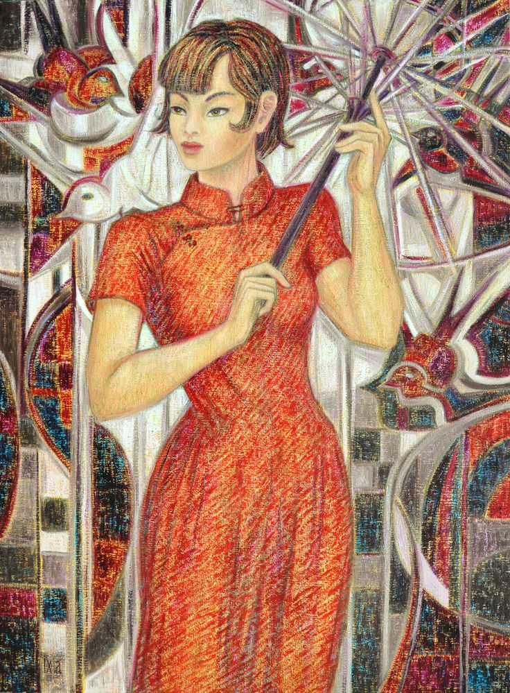 """BY IXIA """"Young Beauty with birds"""" Oil painting on canvas 73 x 100 cm #Shanghai #bird #beauty #sunshade #ixia"""