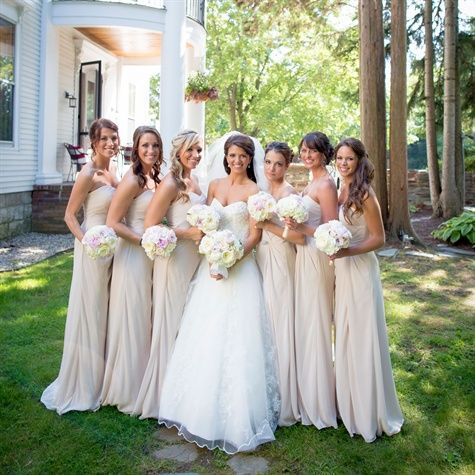 Maybe the bridesmaids should be in champaign so blushy pink isn't EVERYWHERE?  -K