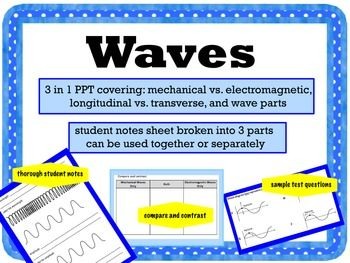 Three in one powerpoint covering mechanical, longitudinal, electromagnetic, and mechanical waves and their parts.  Includes a comprehensive notes sheet.  Best seler!