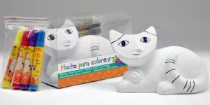 Detalle infantil hucha gato tumbado de ceramica para pintar para regalar a los niños #Grandetalles