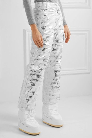 Topshop Sno - Liza Jane Metallic Camouflage-print Ski Pants - Silver - UK