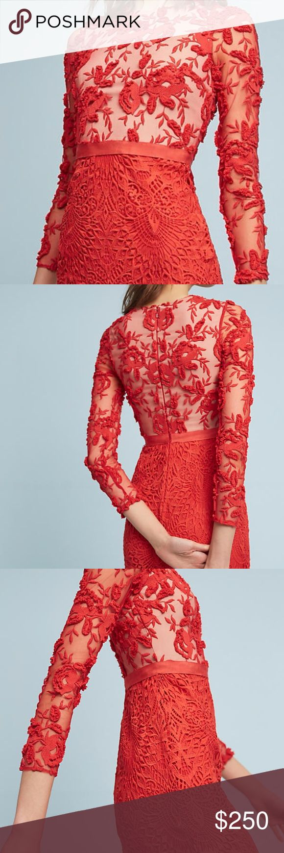 """NWT Anthropologie Serena by ML Monique Lhuillier Get ready to turn heads in a striking red sheath dress with delicate lace detail.  For fit advice, versatility tips or outfit inspiration, email personalstylist@anthropologie.com today.  Hide  Polyester; lace overlay Sheath silhouette Embroidered lace detail Back zip Dry clean Imported Dimensions  Falls 36"""" from shoulder Model Notes  Model is 5'10"""" Anthropologie Dresses Mini"""
