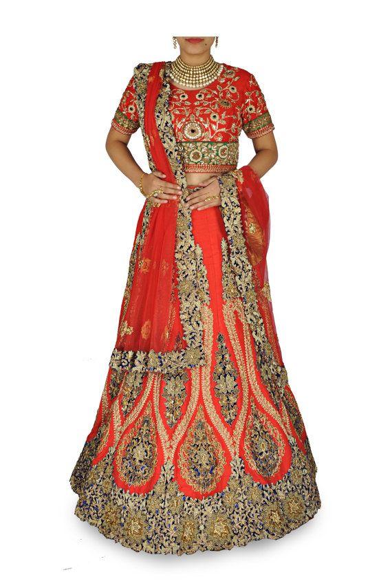 Couleur rouge mariage Lehenga Choli
