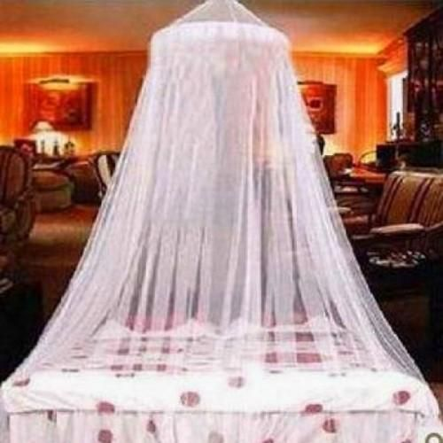 1.65$   Elegant Canopy Mosquito Net  This unique design meets the needs of the decorator while still providing very good travel protection. This White Elegant Lace Bed Canopy Mosquito Net easily folds up and packs neatly because of the foldable hoop.