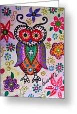Whimsical Wise Owl Greeting Card by Pristine Cartera Turkus