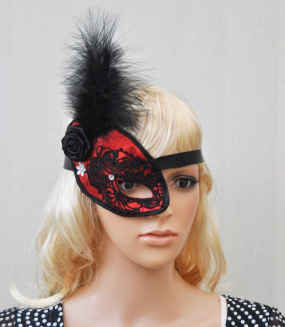 Black and Red  Lace Mask One eye mask Half Mask by Blackpassion