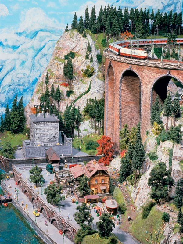 """Model Railroad, the """"Juliussees"""" and high above the passing train..."""